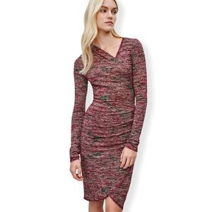 Aritzia Wilfred Free Klum bodycon Dress in Heather Red size small full sleeves